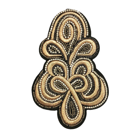 Light Rose Gold Embroidered Beaded Rhinestone Epaulet, EP-023 (sold per piece)