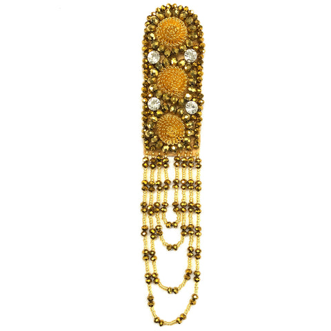 Beaded Rhinestone Epaulet with Dangling Looped Beaded Tassels, EP-024 (sold per piece)