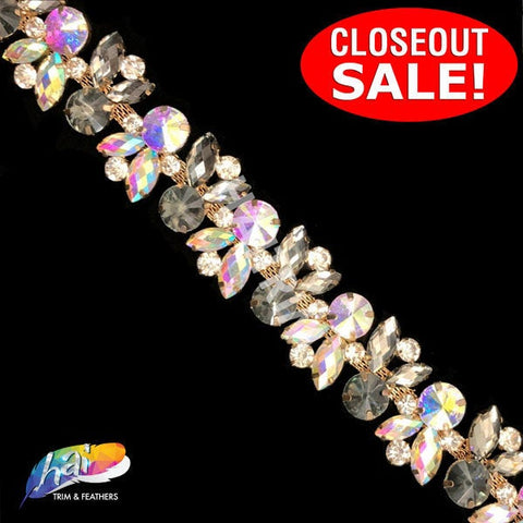 CLOSEOUT! 5 yards of Black Diamond/Crystal AB Fancy Colored Rhinestone Trimming, YH-200