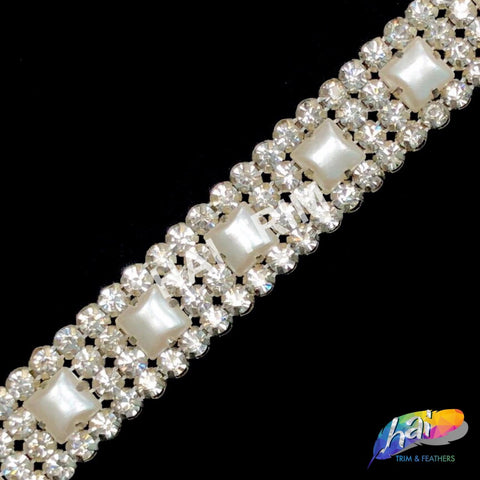 SALE! Silver Pearl Crystal Rhinestone Trimming, Wedding or Formal Rhinestone Banding, Crystal Rhinestone Trim by the yard, PRL-18