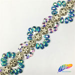 SALE! Iron-on Resin Iridescent Stone Trimming, Gel-back Colorful Acrylic Stone Rhinestone Banding by the yard, IRT-014