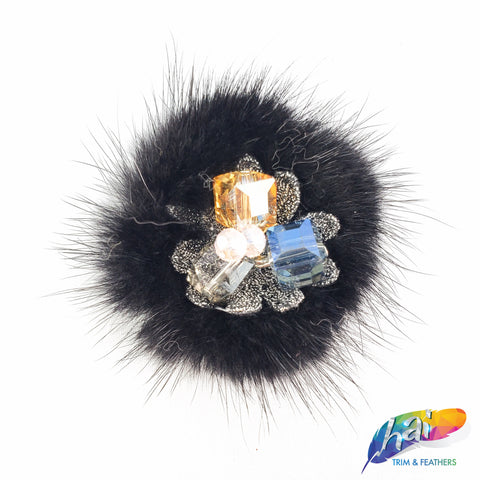 Colorful Glass Beaded Applique with Fur, Fancy Rhinestone Patch for Headpieces, DIY, BA-067