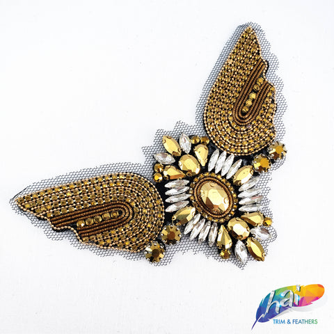 Rhinestone Applique on Felt Backing with Crystal Prong Setting, Fancy Rhinestone Patch for Headpieces, BA-026