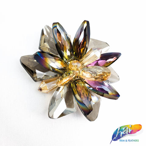 Multicolor and Crystal Iridescent Floral Glass Rhinestone Sewed On. Perfect for Headpieces or any Accessories, DIY , BA-061