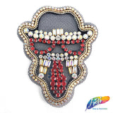 Rhinestone Face Applique on a Black Mesh and a Black Felt as a Backing, Intriguing Beaded Patch for Headpieces, BA-023
