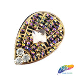 Teardrop Rhinestone Beaded Applique with a Felt Backing, Perfect for Hats, Clothes, Jackets or Accessories, BA-062