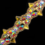 "3 1/2"" Gold/Multicolored Clustered Resin Stone Iron on Trim, IRT-090"