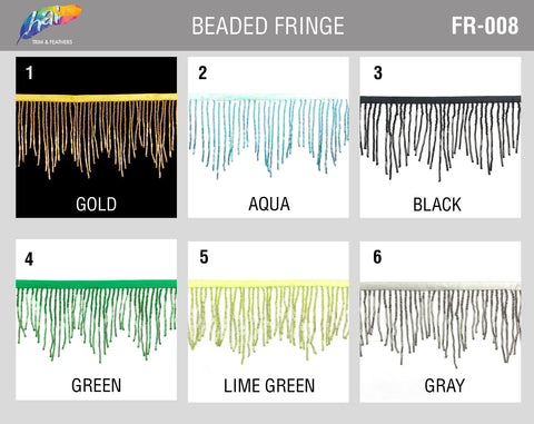 "3 3/4"" Variegated Beaded Fringe with Bugle & Seed Beads, FR-008"