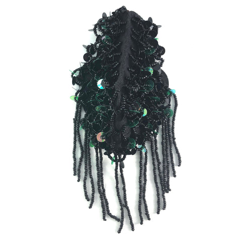 Black/Green Beaded Sequin Epaulets with Dangling Beaded Fringe, EP-033 (sold per piece)