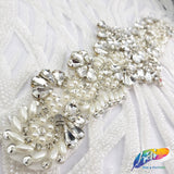 Silver Crystal Pearl Rhinestone Applique, Crystal Bridal Pearl Rhinestone Motif, Wedding Formal Prom Crystal Patch, PRA-007