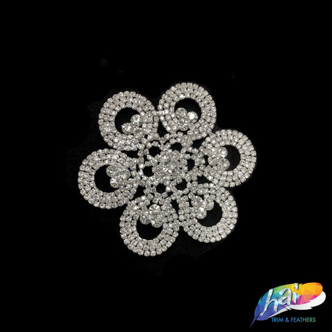 Silver Crystal Rhinestone Motif on Metal Settings, Rhinestone Applique on Metal Settings, Wedding Formal Prom Crystal Patch, XH-054