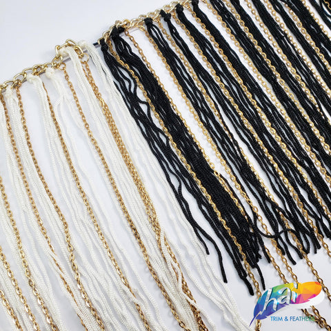 "7 1/2"" Chainette Fringe with Gold Chain Link"
