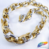 "1/2"" Gold/Silver Braided Cable Chain, CH-104"