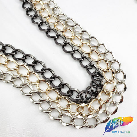"3/8"" Curved Rounded Diamond Cable Chain, CH-110"