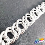 "3/4"" Double Layered Silver Diamond Curb Chain, CH-123"
