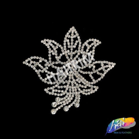 Silver Crystal Rhinestone Motif on Metal Settings, Rhinestone Applique on Metal Settings, Wedding Formal Prom Crystal Patch, YH-250