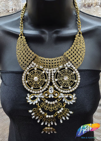 Vintage Gold Tribal Collar Necklace, NEK-039