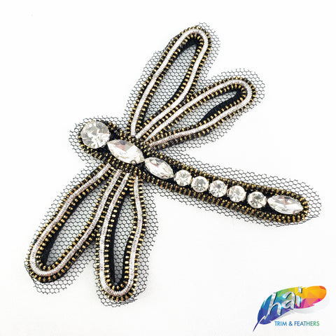 Beaded Rhinestone Dragonfly Patch Applique, Embroidery Patches, Perfect for Hats, Clothes, Jackets, Accessories, Crafts, DIY, BA-099