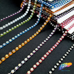 CLOSEOUT! 10 yards of 20ss Single Row Color Stones Non Stretch Rhinestone Trim