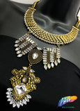 Gold Tribal Necklace with Rhinestones, NEK-056
