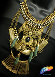 Vintage Gold Tribal Necklace with Faux Jade Drop Stones, NEK-072