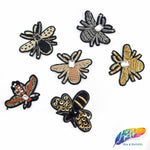 Beaded Rhinestone Insect Patch Applique, Embroidery Patches Perfect for Hats, Clothes, Jackets, Accessories, Crafts, DIY, BA-072,073,074