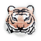 Embroidered Tiger Applique, Large Animal Patches, Metallic Reversible Shiny Glitter Patch for Jackets, Embroidery Tiger head Patch