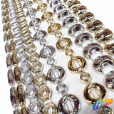 Silver Rhinestone Plastic Stud Trim, Gold Plastic Trim w/ Acrylic Stones, Decorative Trim Acrylic Banding by the yard, PST-053-054-055-056