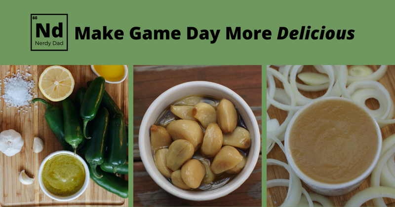 Make Game Day More Delicious: includes images of onion dip, garlic confit and jalapeno sauce