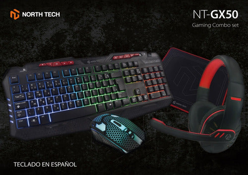 Combo Gamer Teclado Mouse Auriculares Pad Mouse North Tech