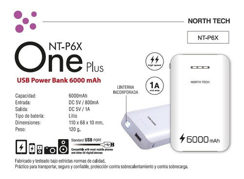 Batería De Respaldo Power Bank 6000mah North Tech
