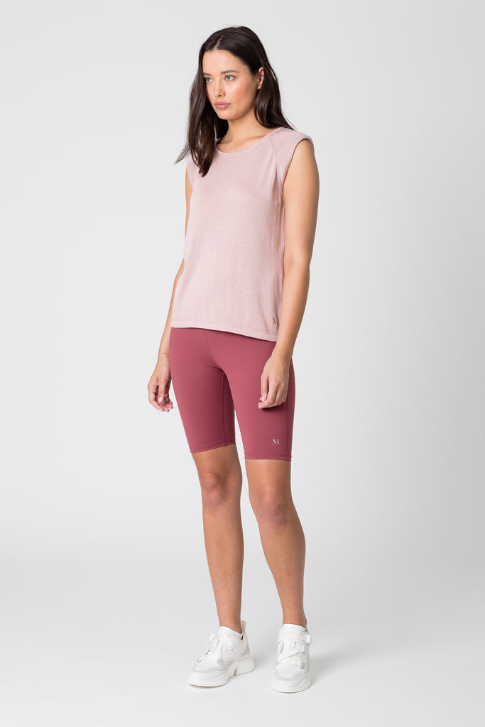 Aura Shoulder Pad Knit Tank - Blush