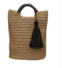 Load image into Gallery viewer, Natural Rattan tassel bag