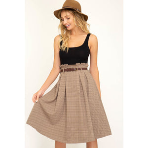 Paperbag waist plaid about you midi skirt