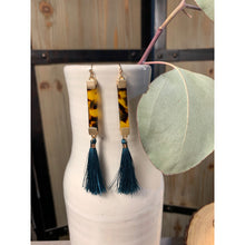 Load image into Gallery viewer, Tortoise earring with teal tassel
