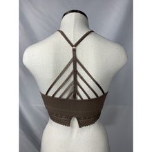 Load image into Gallery viewer, Highneck Taupe bralette with lace trim