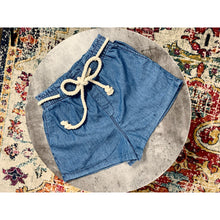 Load image into Gallery viewer, Rope accent cotton denim shorts