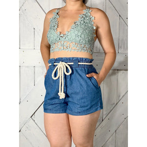 Rope accent cotton denim shorts