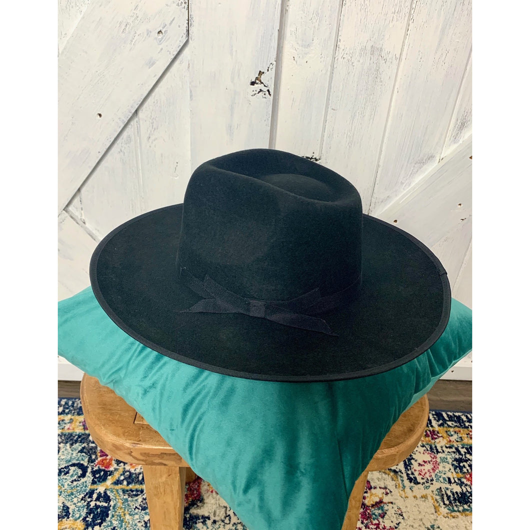 Eilleen Black Wool Fedora Hat