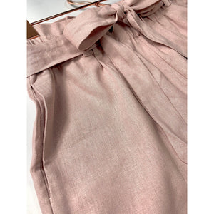 Mauve Bow Linen Shorts