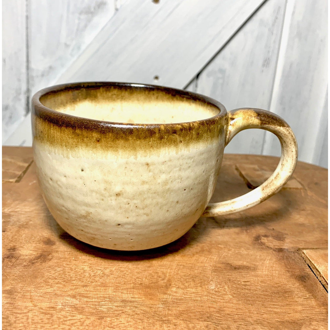 Brown Rim Handled Cup