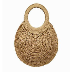 Round Natural Rattan Tassel Bag