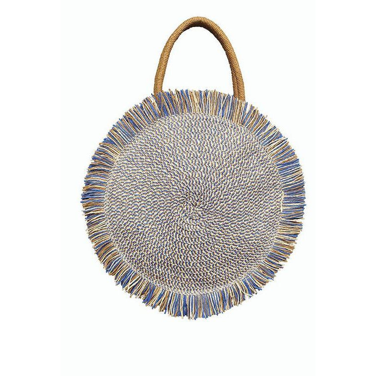 Blue Fringe Straw Bag