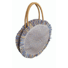 Load image into Gallery viewer, Blue Fringe Straw Bag