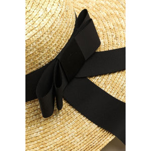 Black ribbon grass hat