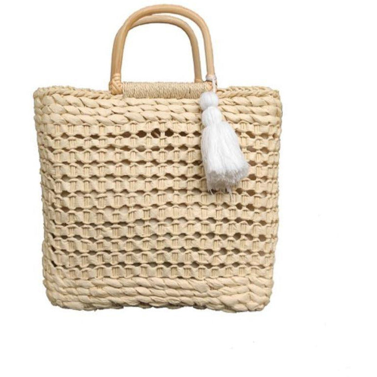 Bamboo handle Straw Bag