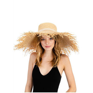 Fringe edge grass hat with lace ribbon