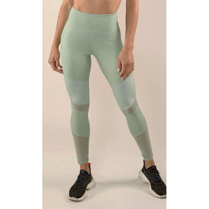 Mint workout pants with mesh detail