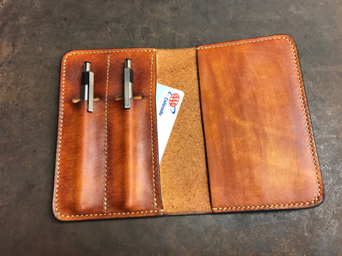 Brown leather field notes notebook cover with pen holder's hand made by Marty Flint
