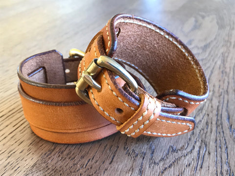 Brown leather buckle wrist cuff bracelet hand stitched